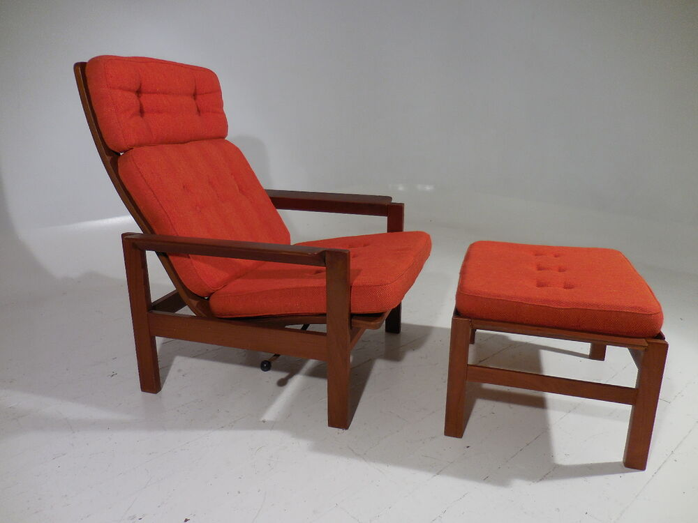 mid century danish modern teak reclining lounge chair w. Black Bedroom Furniture Sets. Home Design Ideas