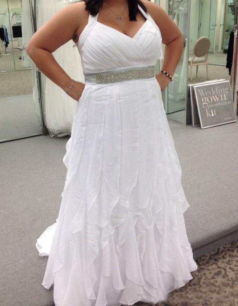 Plus size halter neck chiffon wedding dress bridal gown for Sell your wedding dress online for free