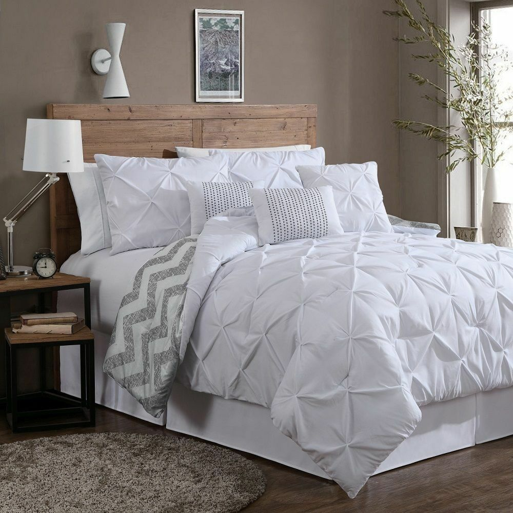 Reversible 7 Piece Comforter Set King Size Bed Bedding Pinch Pleat White Pillows Ebay