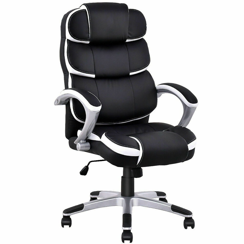 New ergonomic pu leather high back executive computer desk for High back leather chairs