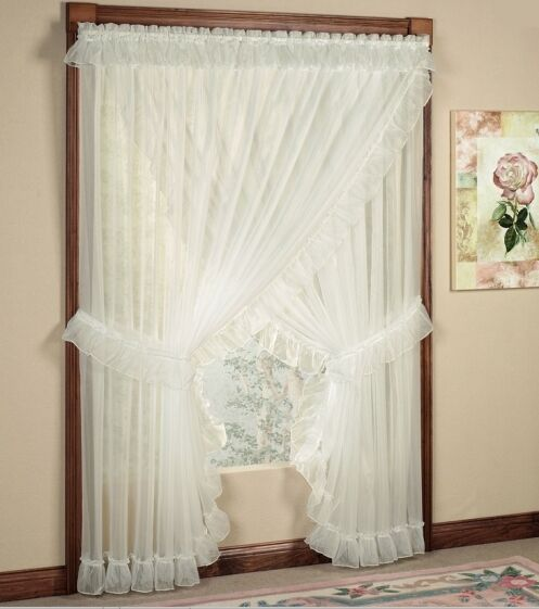 Tie Back Kitchen Curtains: NEW Jessica Sheer Ruffled Priscilla Curtain Panel Pair