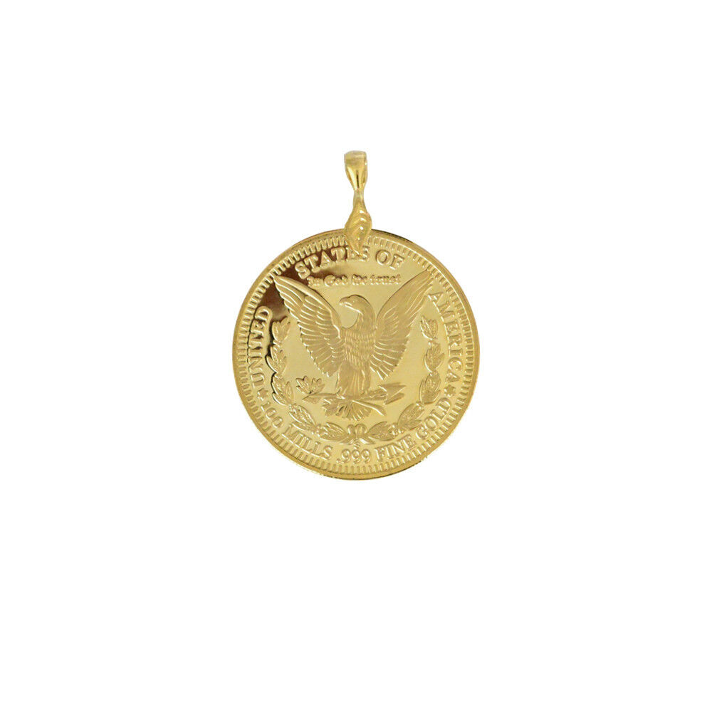 eagle 1896 coin pendant mens 24k gold plated