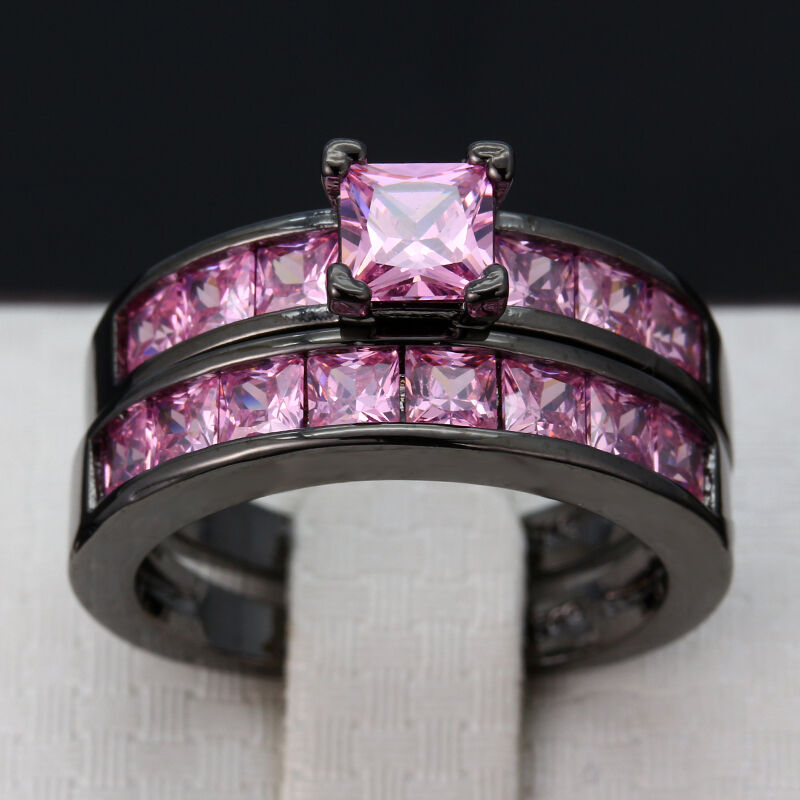 2pcs set Women Black Gold Filled Square Clear Pink Sapphire Wedding Ring Jewe