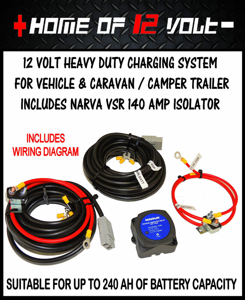 Heavy Duty 12volt Vehicle Caravan Charging System W Narva 140 Amp 12 Volt Diagram Vsr Isolator Ebay