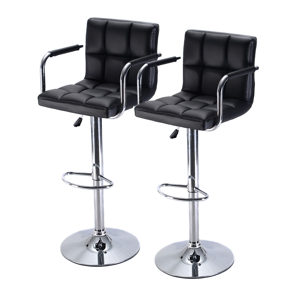 Set of 2 bar stool pu leather barstools chair adjustable for Stool chair
