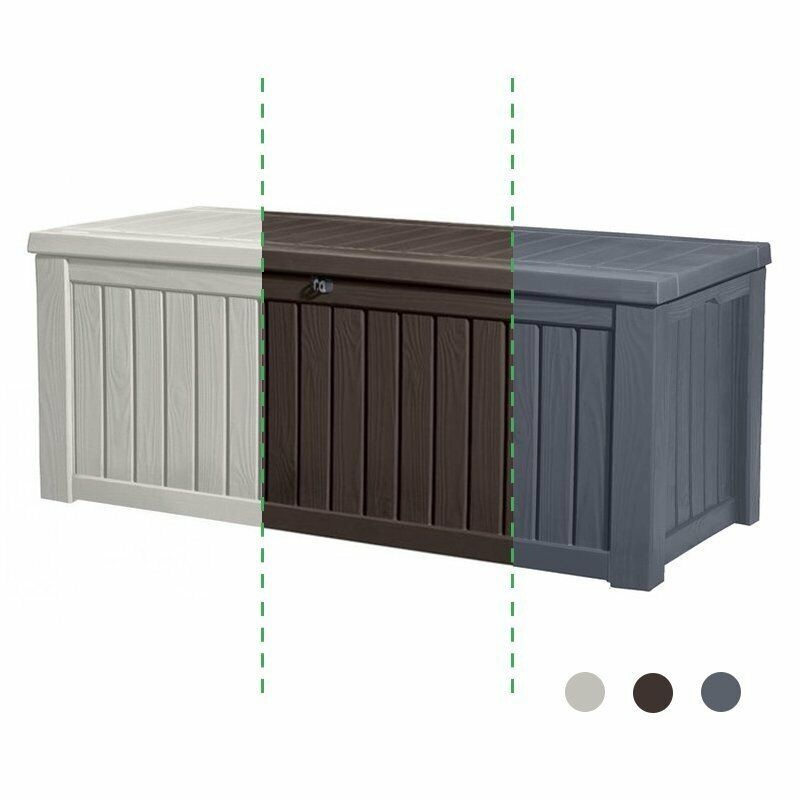 keter rockwood gartentruhe kissentruhe gartenbox auflagenbox gartenm bel truhe ebay. Black Bedroom Furniture Sets. Home Design Ideas