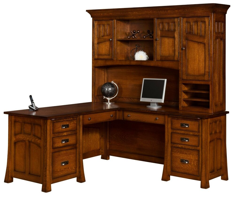 Amish bridgefort mission corner computer desk hutch office for Solid wood furniture