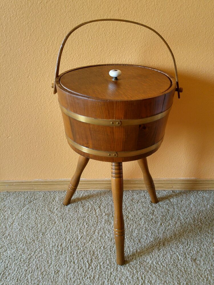 Vintage Wood Whisky Barrel Sewing Thread Yarn Box Holder On Legs Ebay
