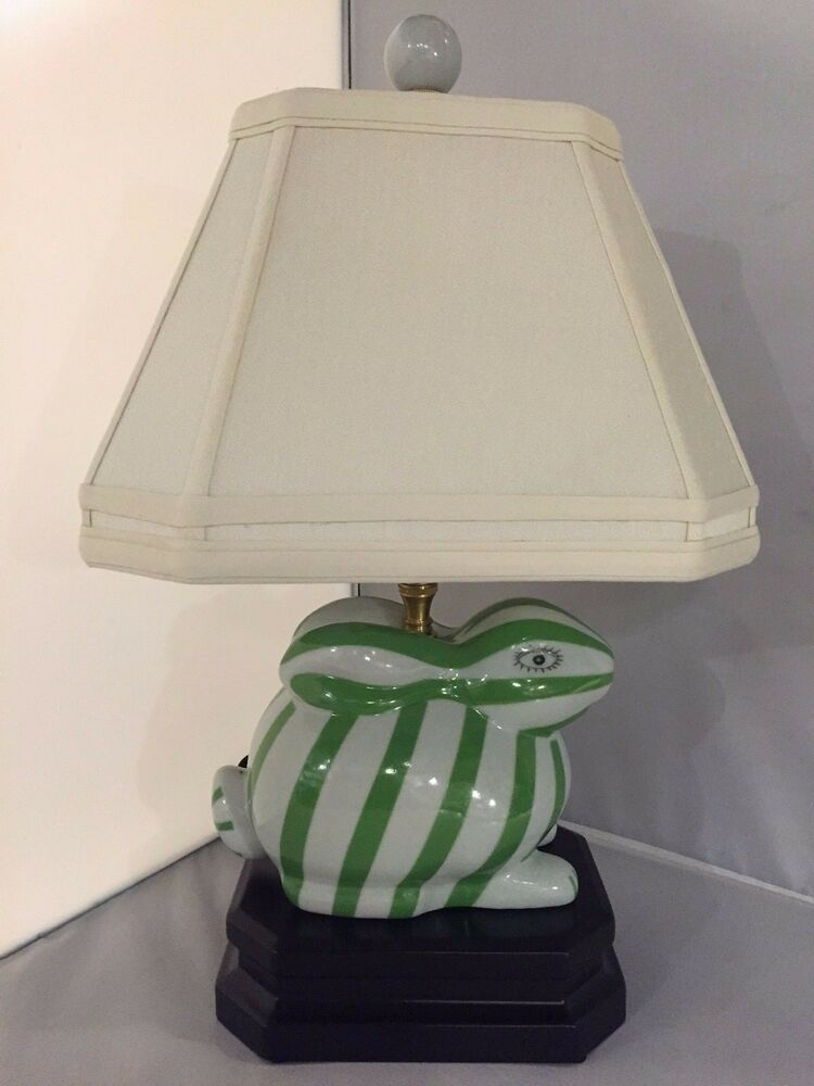 Green White Bunny Rabbit Table Lamp Striped Desk Bed Side