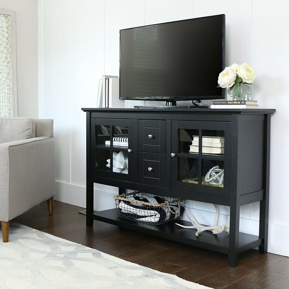 Table With Tv : Walker edison in wood console table tv stand black