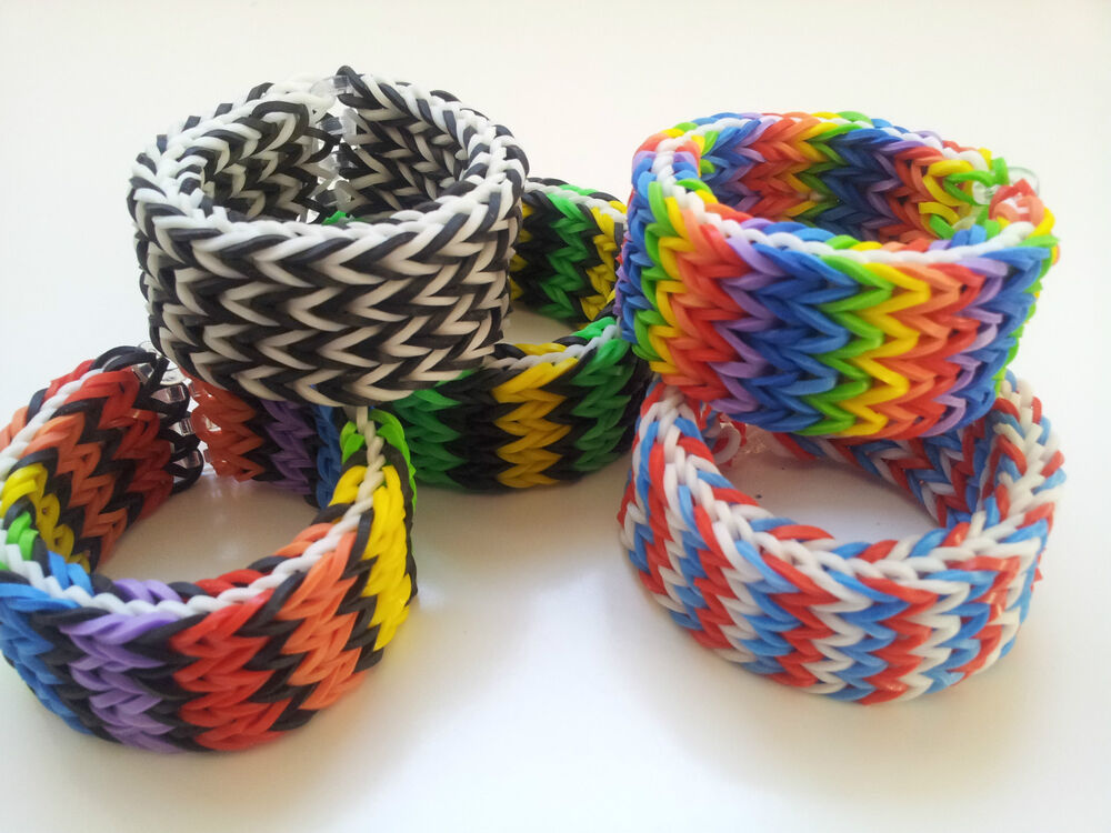 rainbow loom rubber band bracelet quadruple fishtail pick or custom made ebay. Black Bedroom Furniture Sets. Home Design Ideas