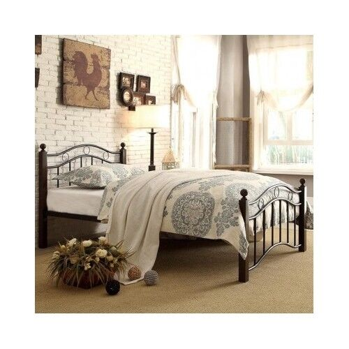 Twin platform bed frame black headboard footboard metal for Cheap metal twin bed frame