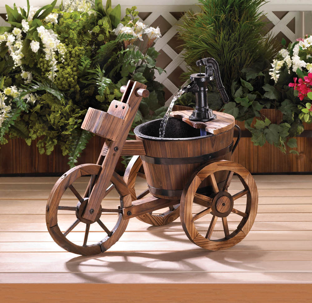 Water Fountain Garden: Old Fashioned Water PUMP Wine Barrel TRICYCLE Outdoor