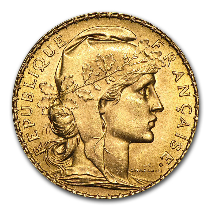 french 20 franc rooster gold coin random year coin sku. Black Bedroom Furniture Sets. Home Design Ideas
