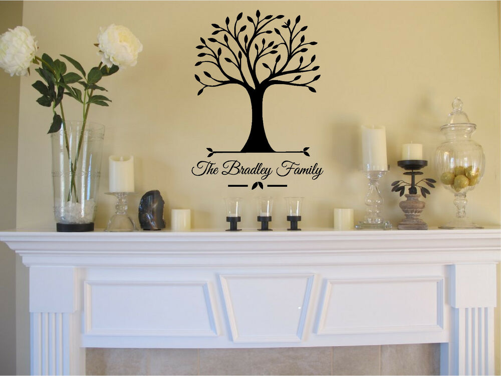 Personalized family name tree wall sticker vinyl decals for Home decor names