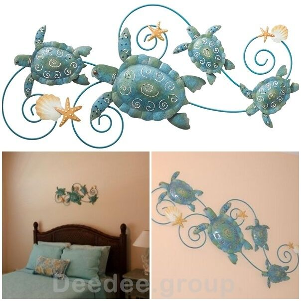 Metal wall decor art tropical beach turtle shell starfish for Tropical metal wall art