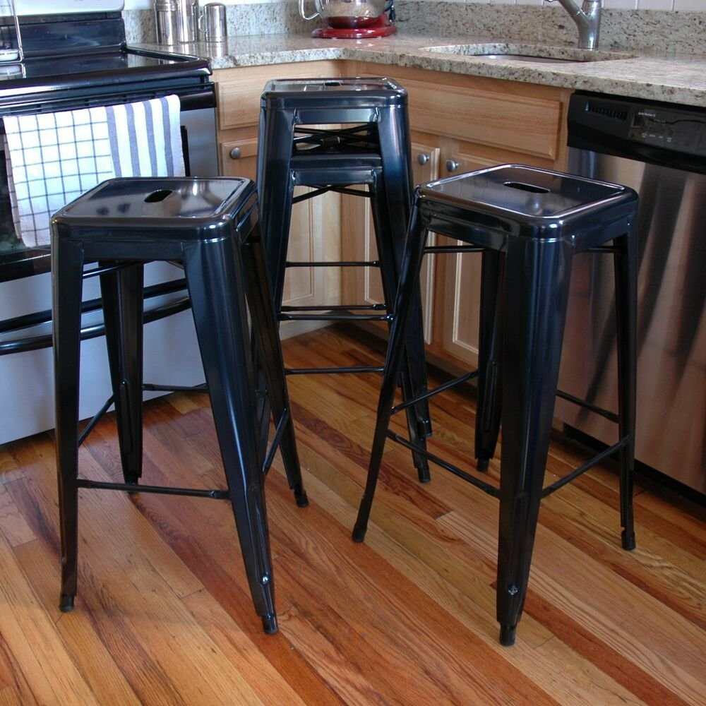 Amerihome Metal Bar Stool Set 30 Inch Black Set Of 4 Bs030bset New Ebay