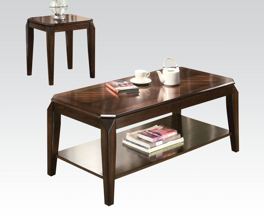 Acme furniture 80655 docila 3pc coffee end table set for Furniture of america inomata geometric high gloss coffee table