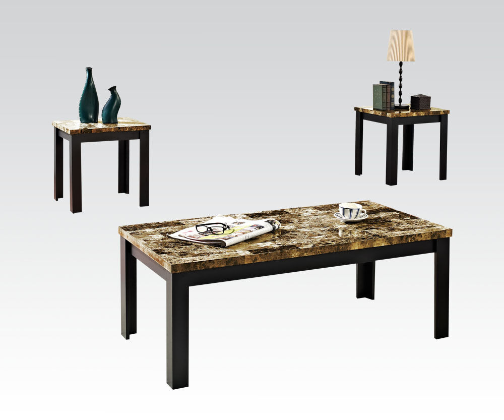 Acme Furniture 80320 Finely 3pc Coffee End Table Black Faux Marble Black Leg Ebay