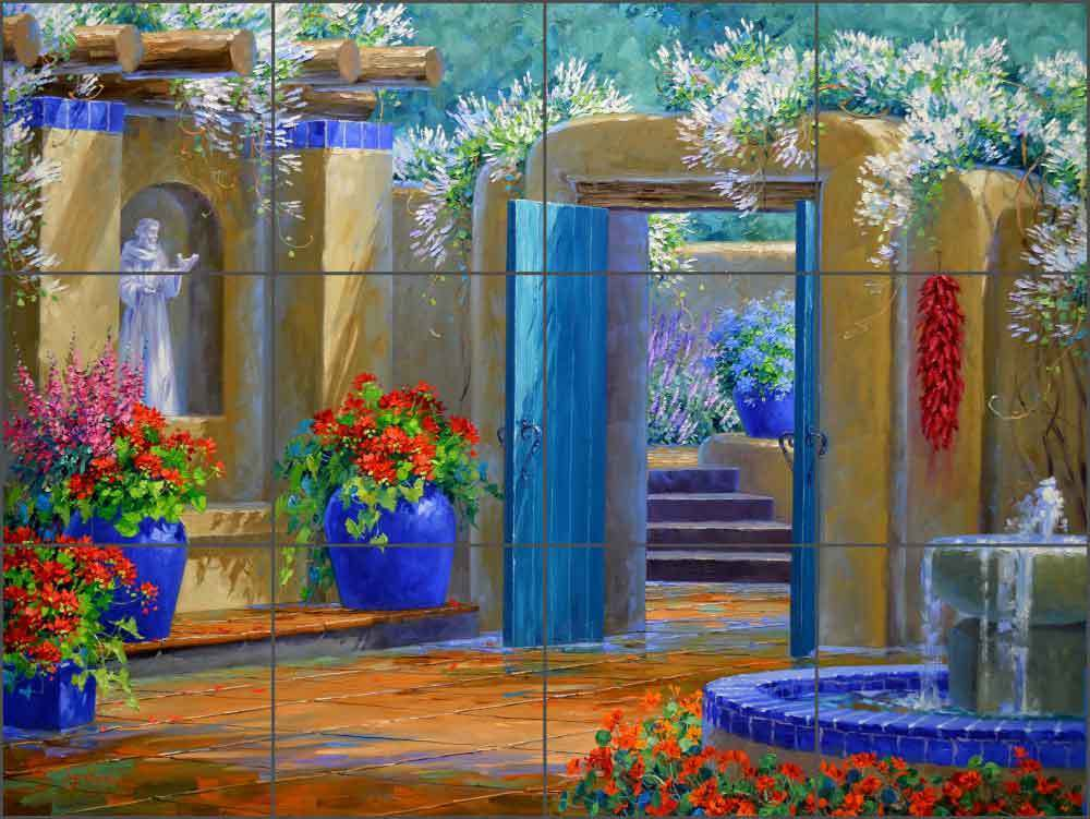 Ceramic tile mural backsplash senkarik southwest courtyard for Artwork on tile ceramic mural