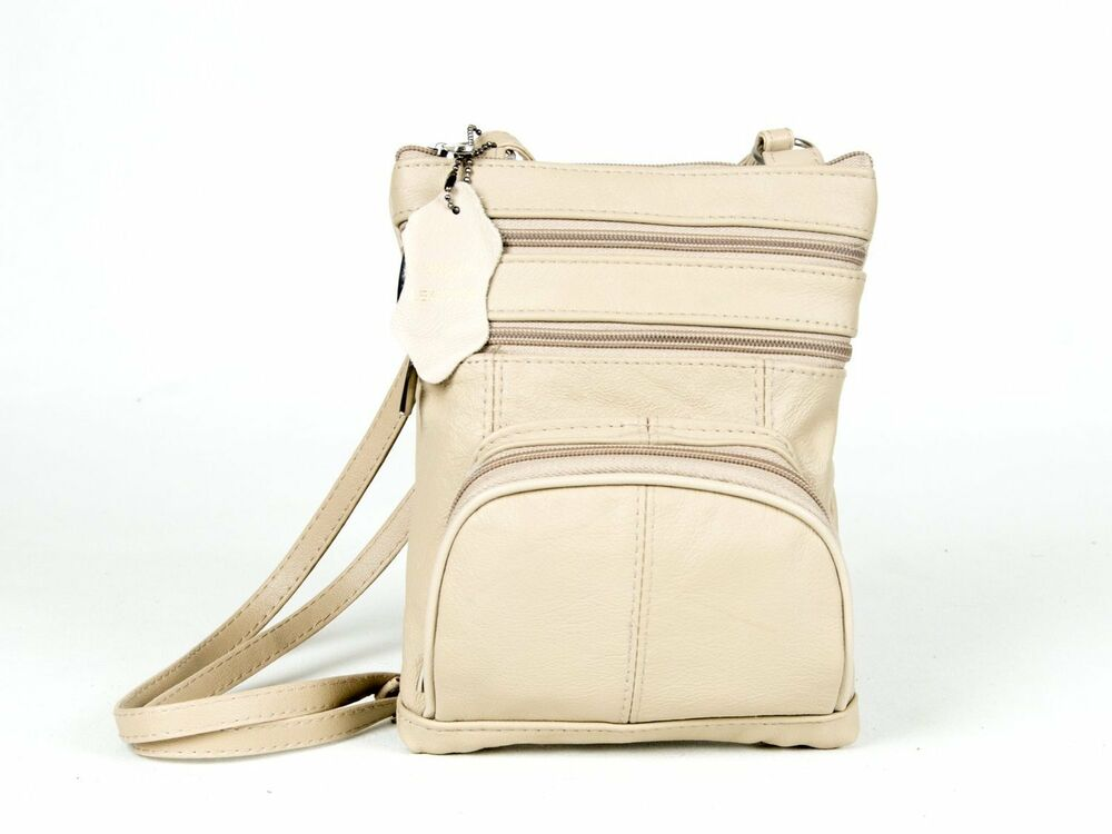 66911e7b9a Details about Genuine Leather Multi-Pocket Crossbody Purse Bag (Cream)  Leather Women s Purse
