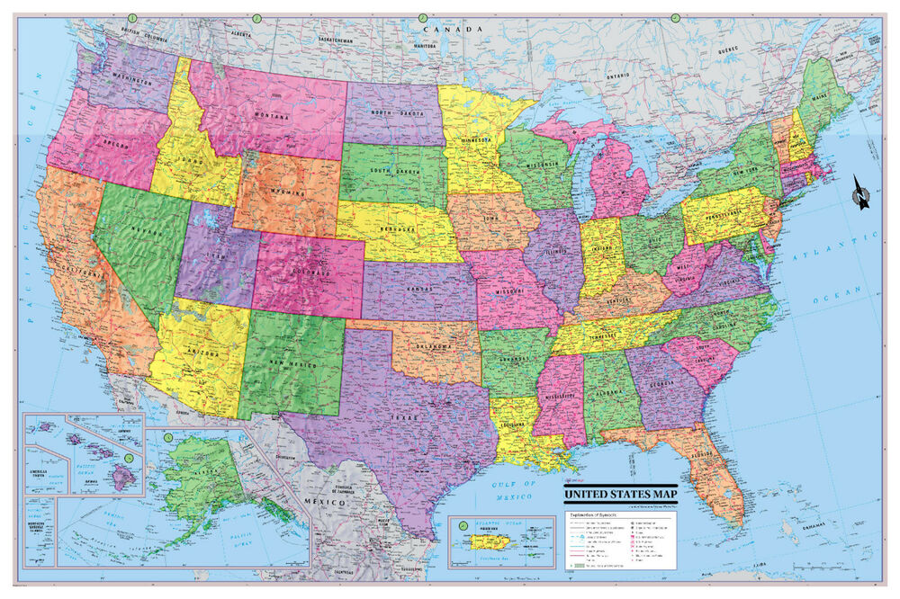 Cool Owl Maps Usa United States Giant Wall Map Poster 54 X36 Paper
