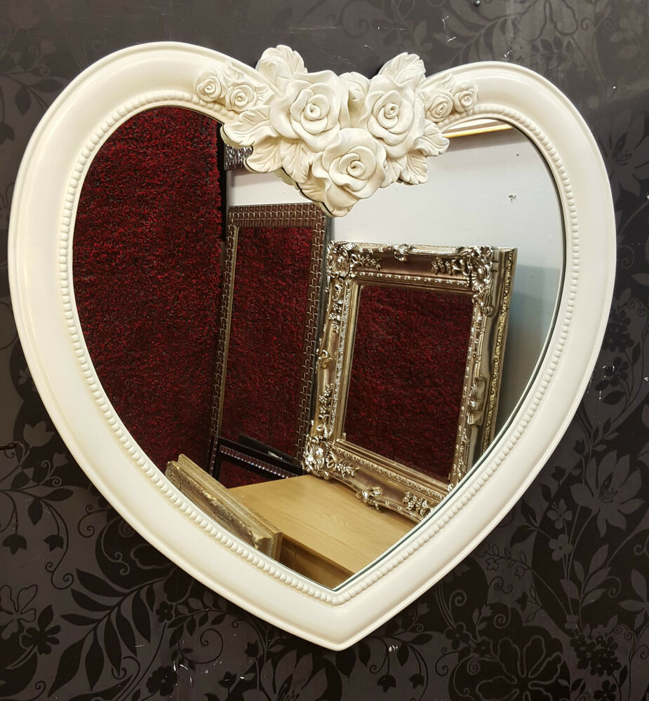 Heart Shape Wall Mirror Ornate Frame French Engrved Rose