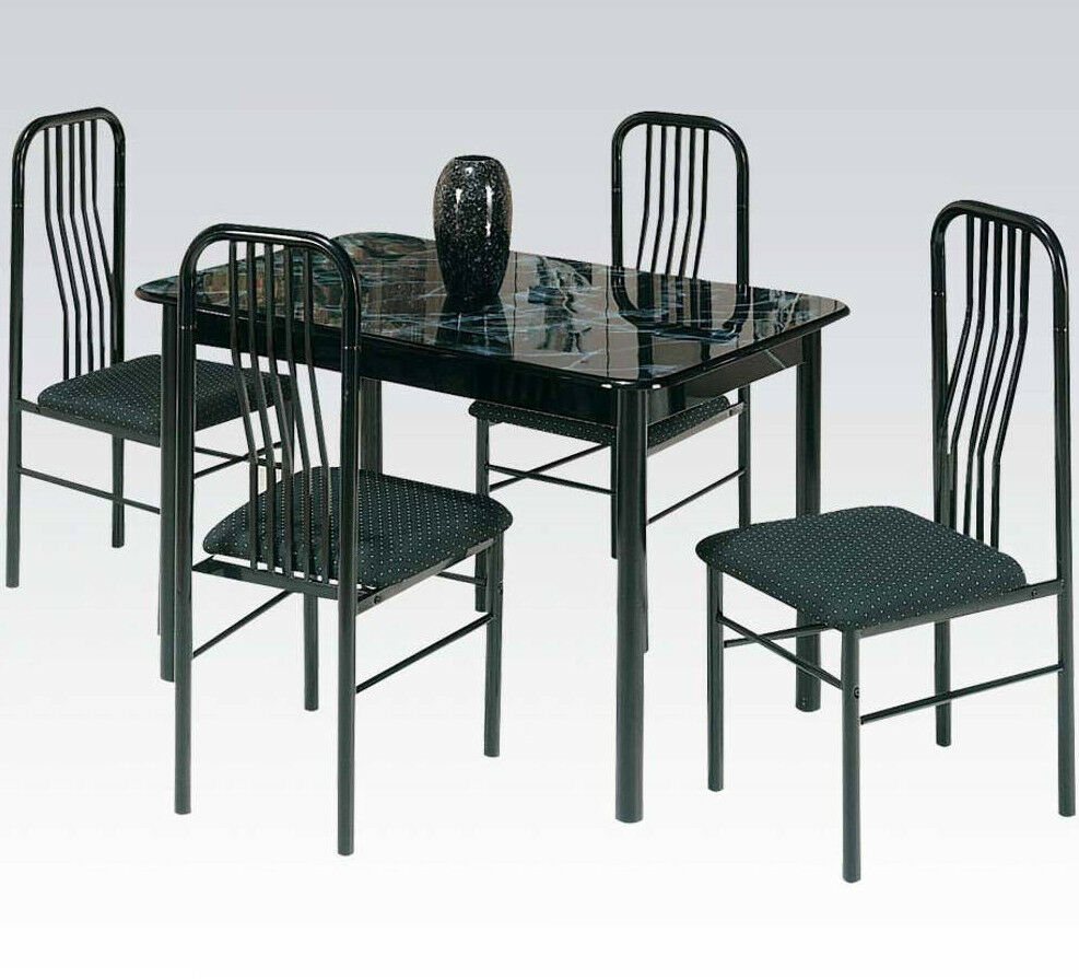 acme hudson 5 piece dining set faux marble top black 02406 7bk new