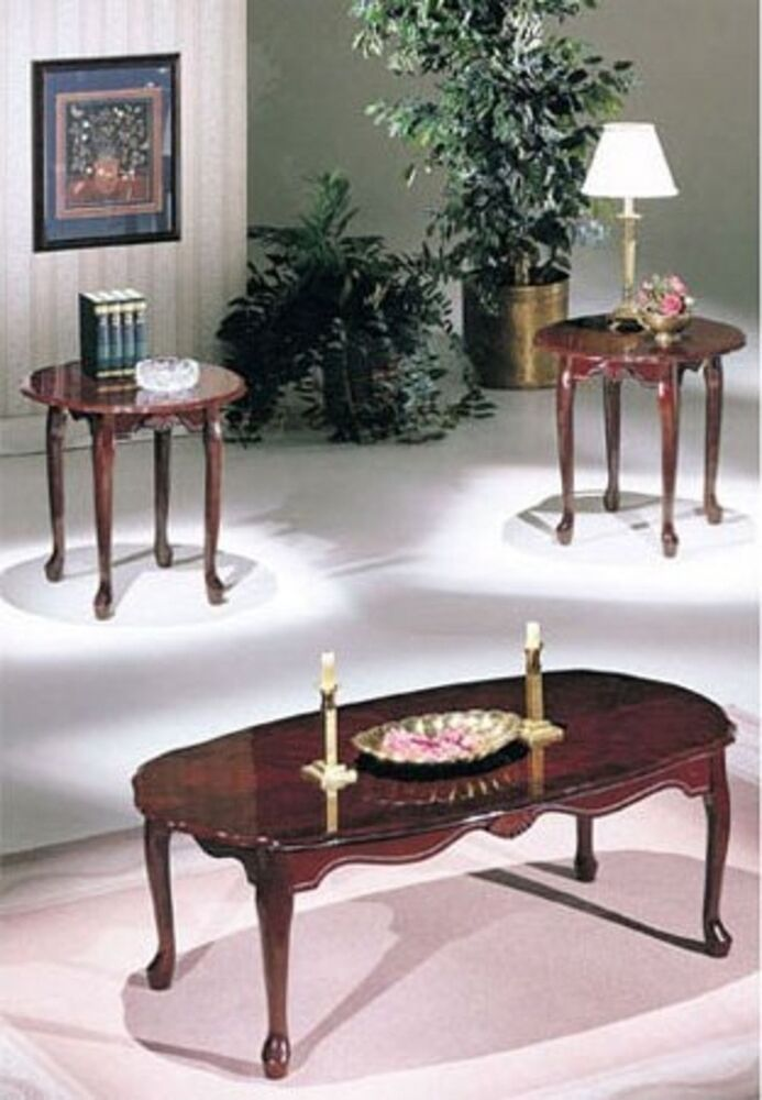 Acme Essex Cherry 3pc Pk Coffee End Table Set 2402 Table New Ebay