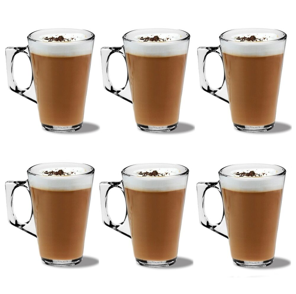 Pack Of 6 Latte Glasses Coffee Tea Cappuccino Glass 240ml