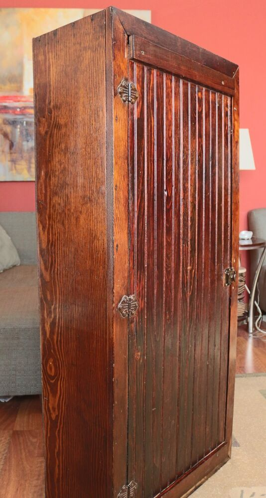 tall cabinet with doors antique primitive 52in wooden cabinet original 26988