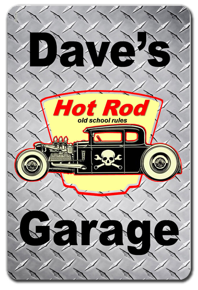 Personalized Old School Hot Rod Garage Metal Sign Ebay