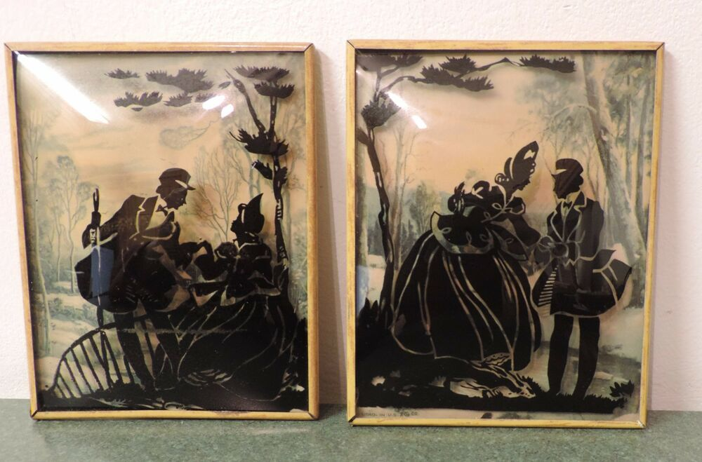 Vtg Concave Bubble Glass Silhouette Pictures Set Of 2