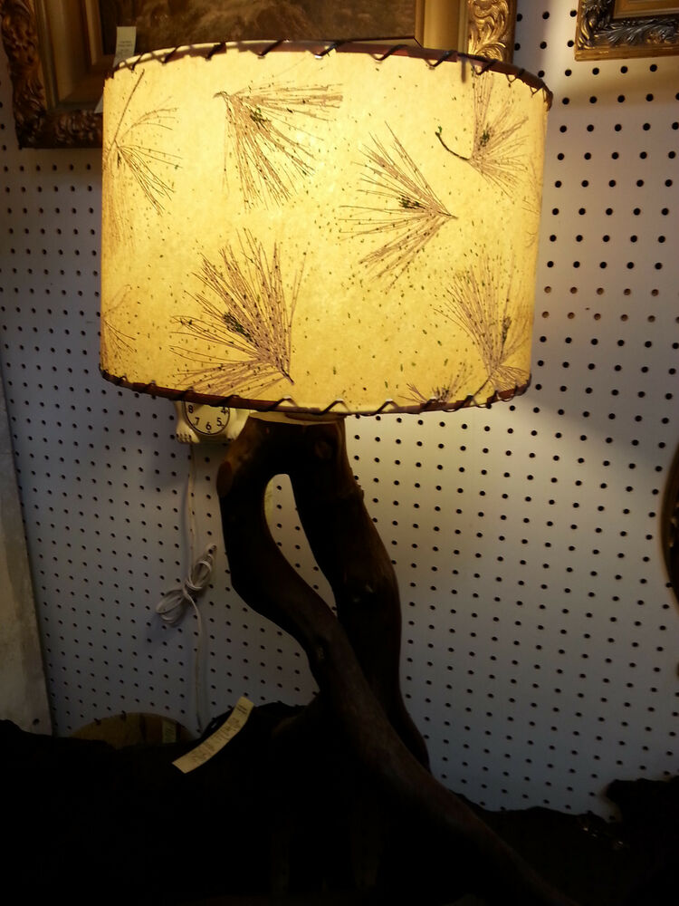 Vintage Tree Branch Base Table Lamp With Old Fiberglass