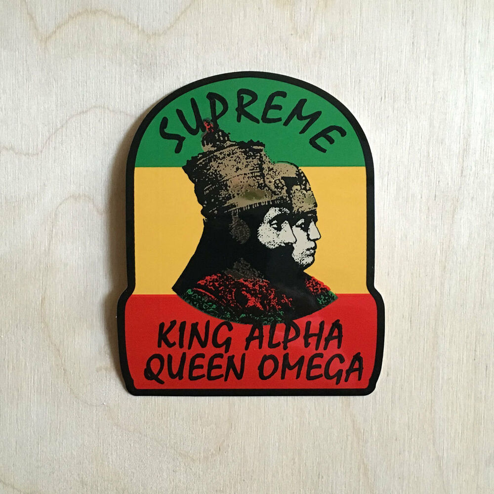 Details about supreme vinyl sticker skateboard decal bumper huf king alpha queen omega rasta