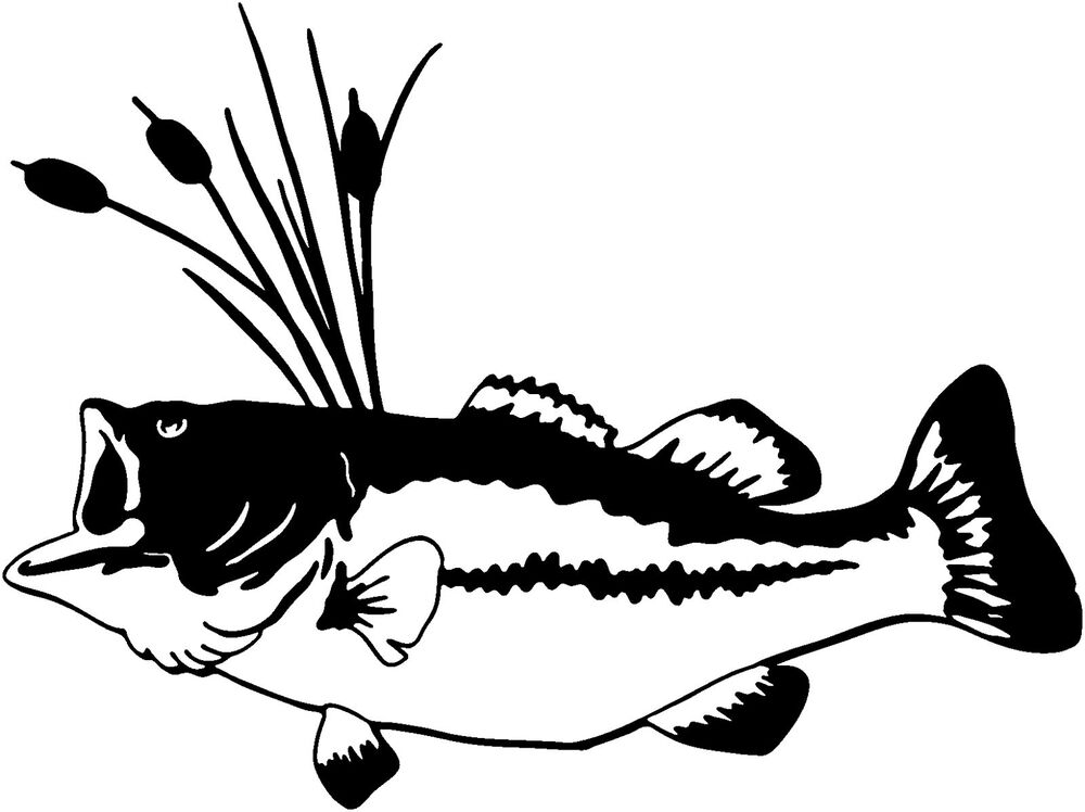 Bass decal stof 7 fishing truck boat vinyl stickers ebay for Free fishing decals