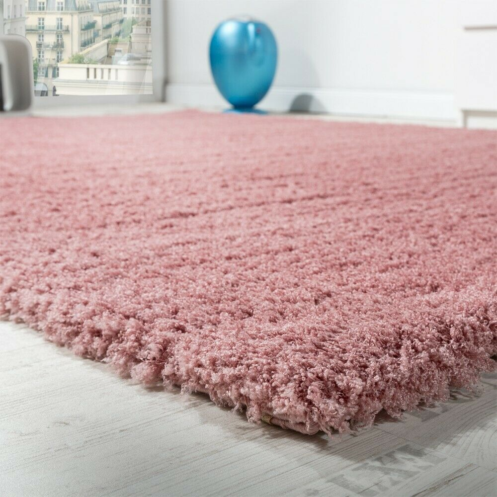 shaggy teppich micro polyester wohnzimmer teppiche elegant hochflor pink ebay. Black Bedroom Furniture Sets. Home Design Ideas