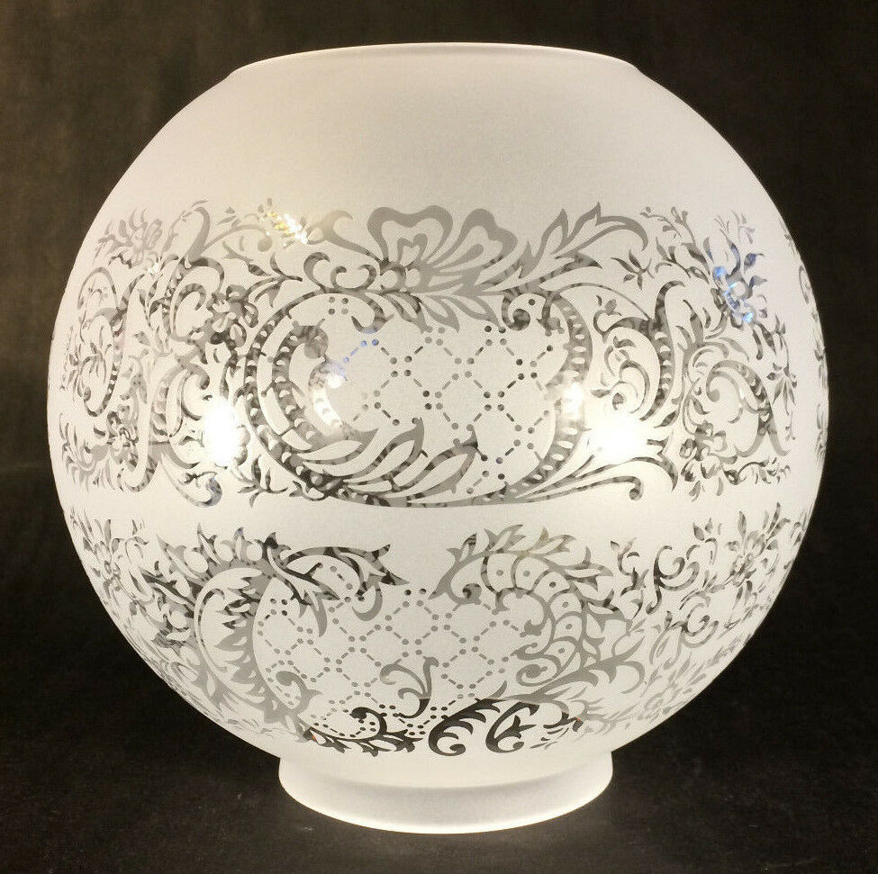"Etched Metal Lamp Shade: 8"" Venicia Satin Etched Floral Scene Gas Oil Ball Lamp"