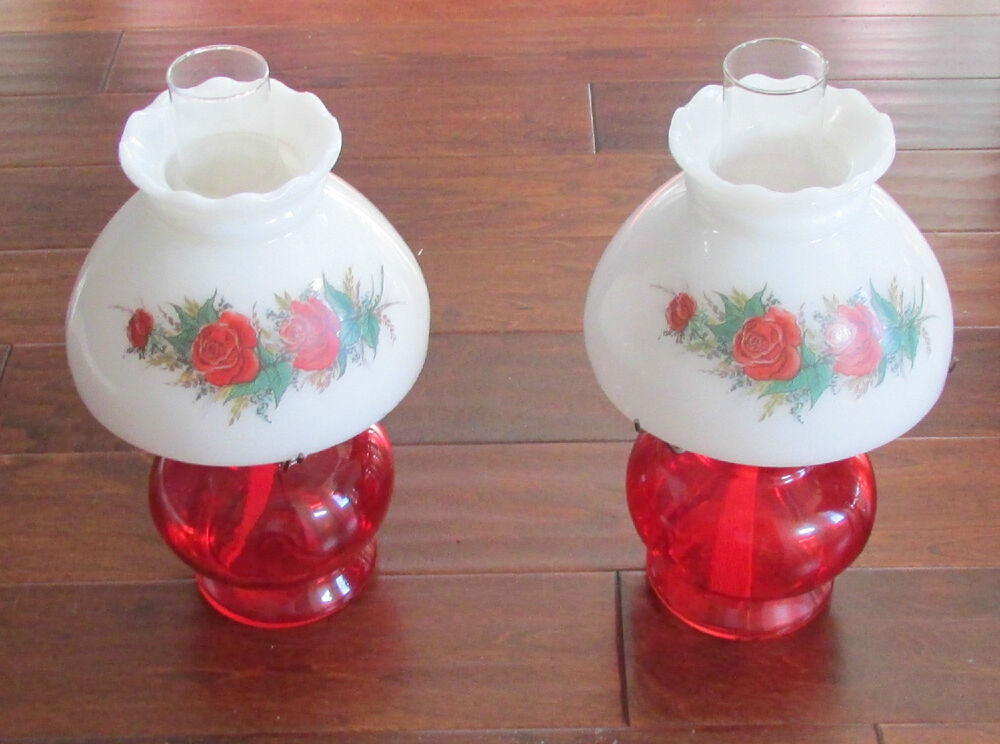 Pair Of Vintage Ruby Red Rose Design Milk Glass Shade