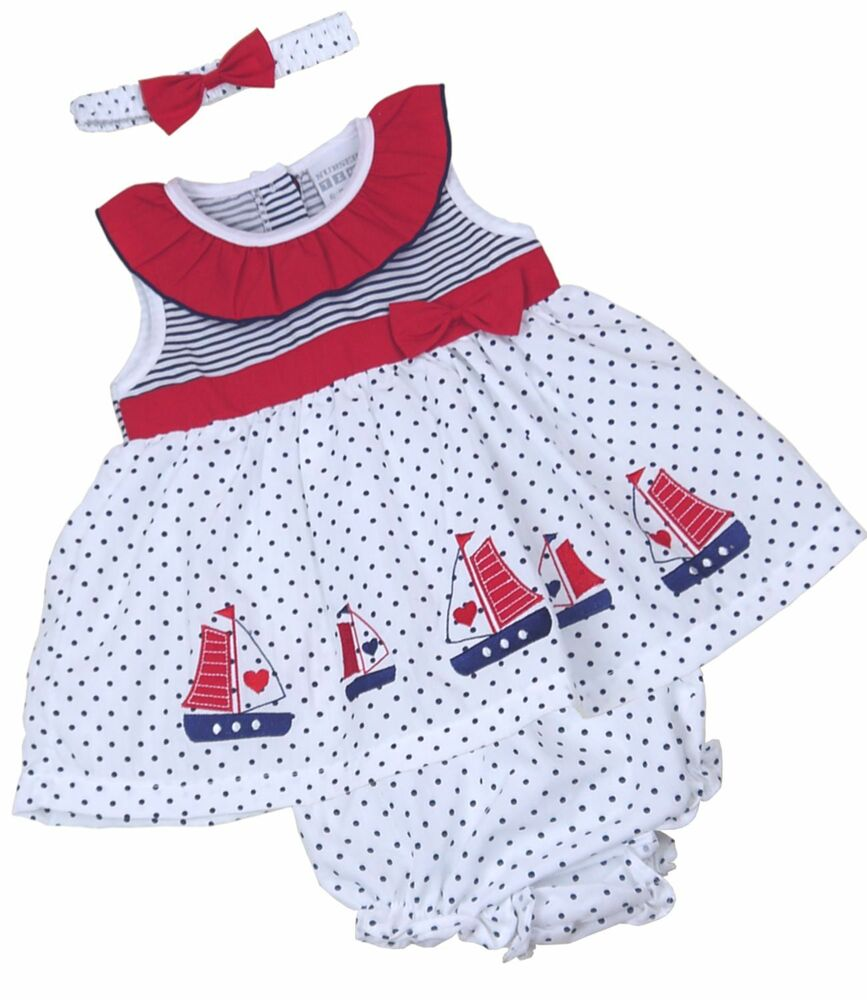 BABYPREM Baby Girls Clothes NAUTICAL 3 Piece Dress