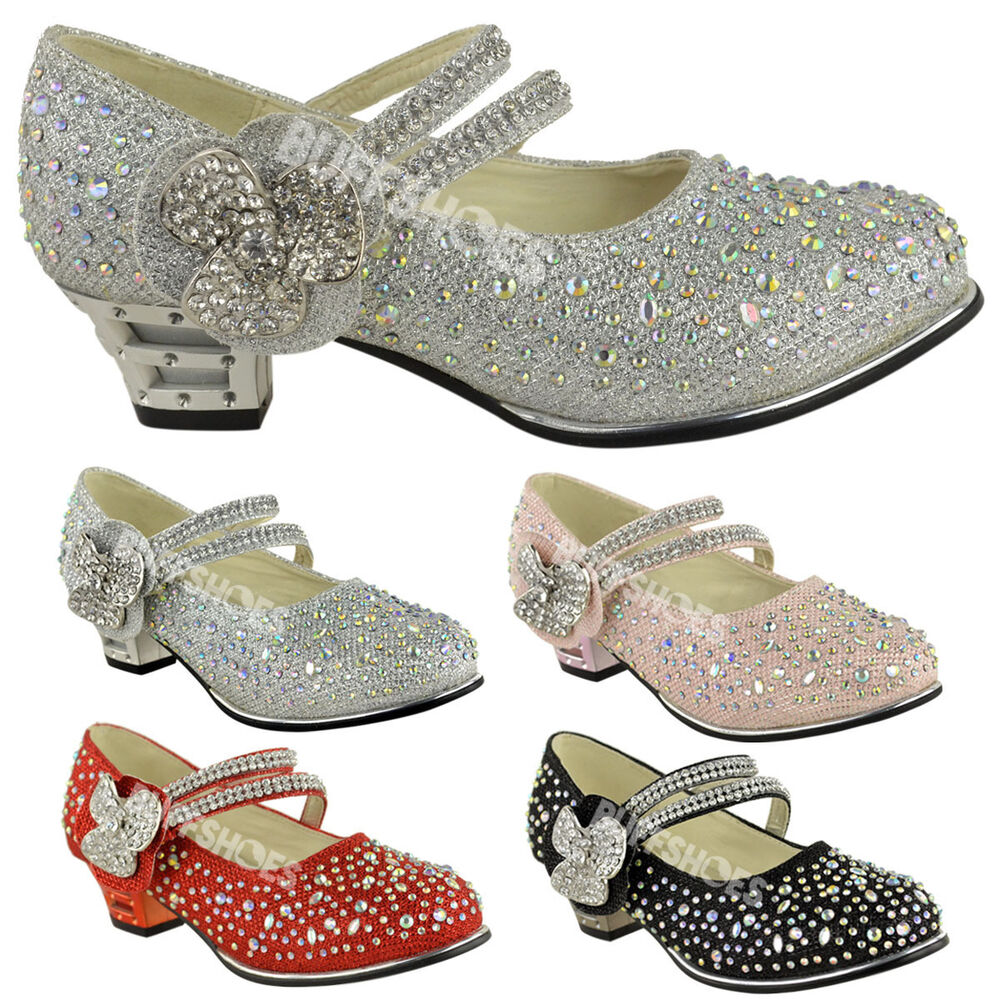 kids wedding shoes childrens mid low high heel diamante 5311