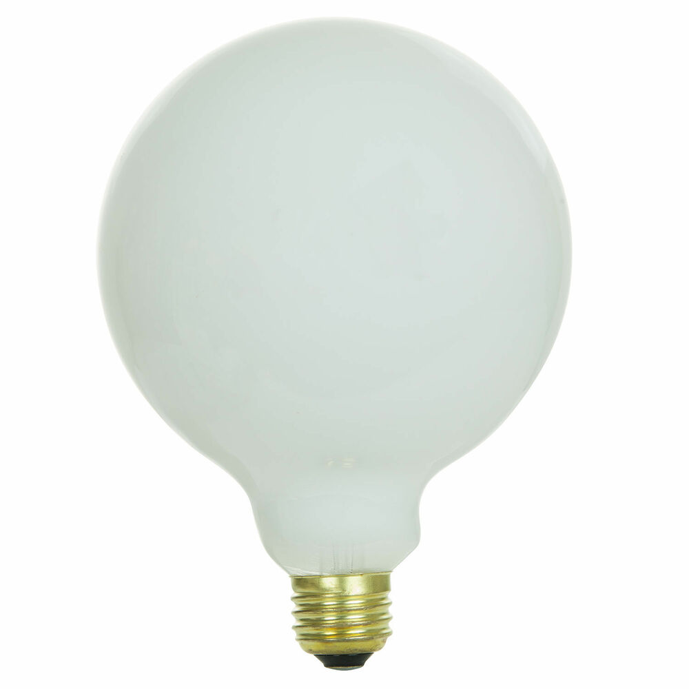 Globe Light Bulb G40 Size 60 Watt Clear Glass Lamp White Finish Frees Ship Ebay