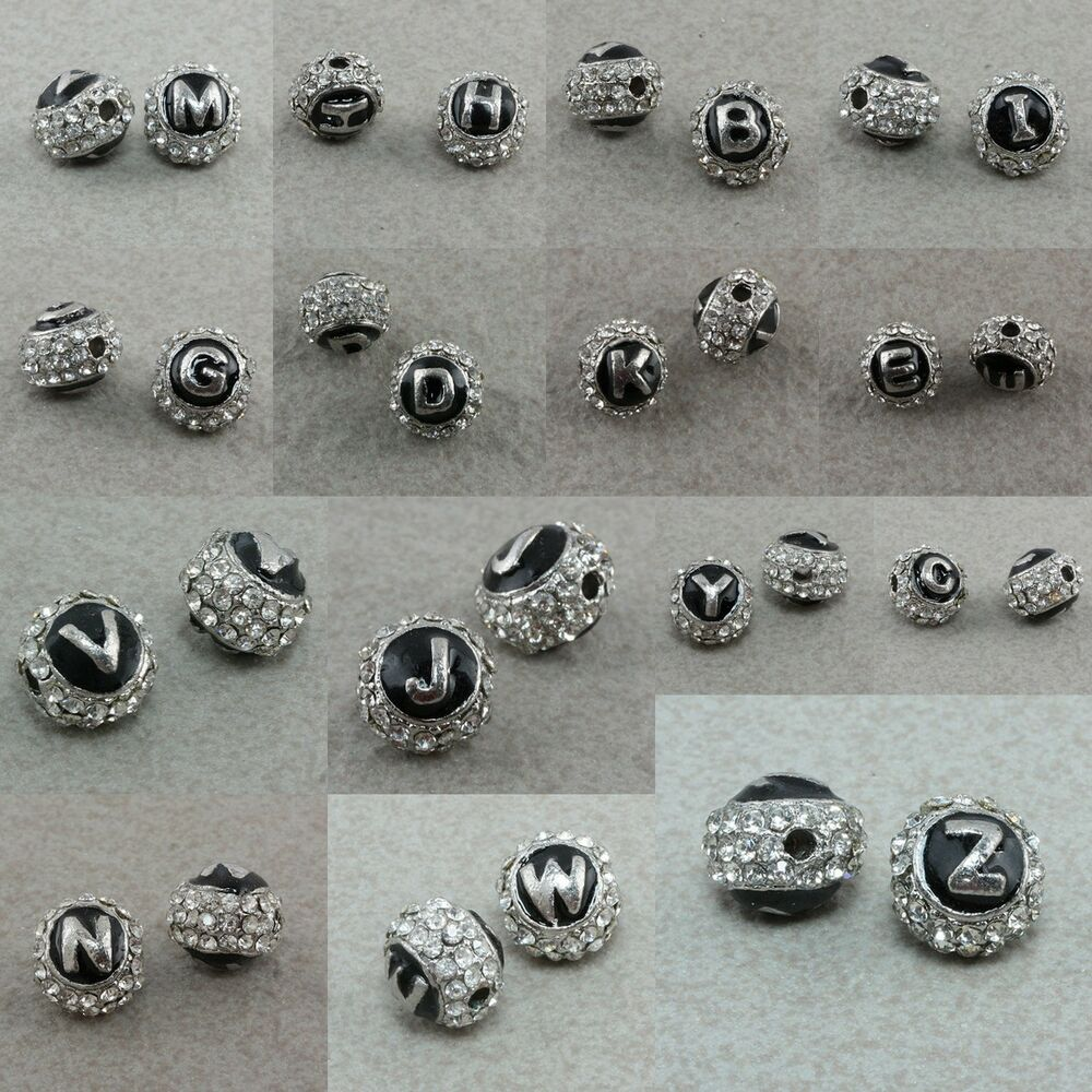 clear crystal rhinestone alphabet letters loose spacer