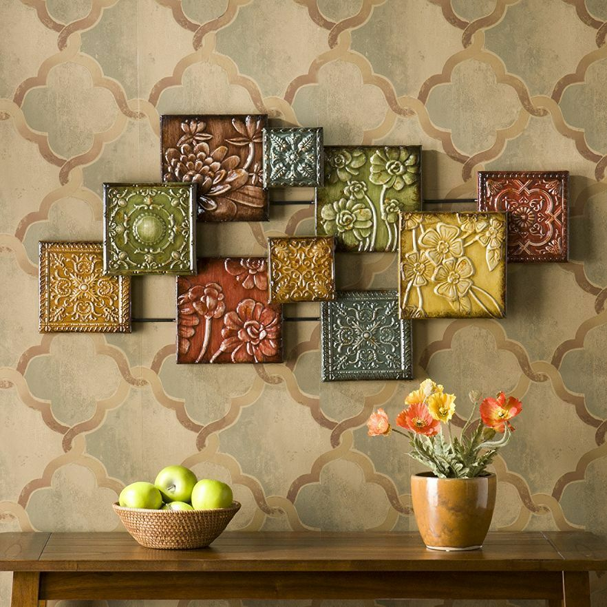 Metal wall decor abstract art sculpture multi color floral squares home accent ebay - Wall paintings for home decoration ...
