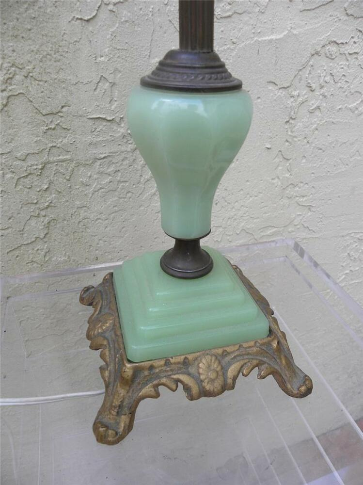 Green Lamp Painting : Art deco jadeite green glass brass table lamp ebay