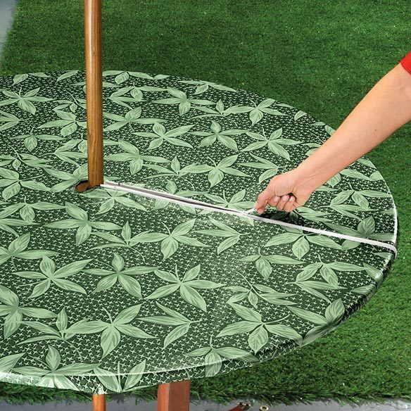 New Vinyl Umbrella Zipper Round Oval Fitted Table Cover Patio Leaves Leaf Gre