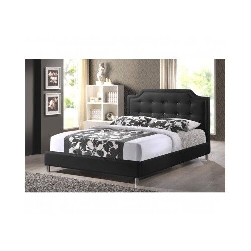 Queen size platform bed frame upholstered headboard black for Tufted headboard queen bed frame