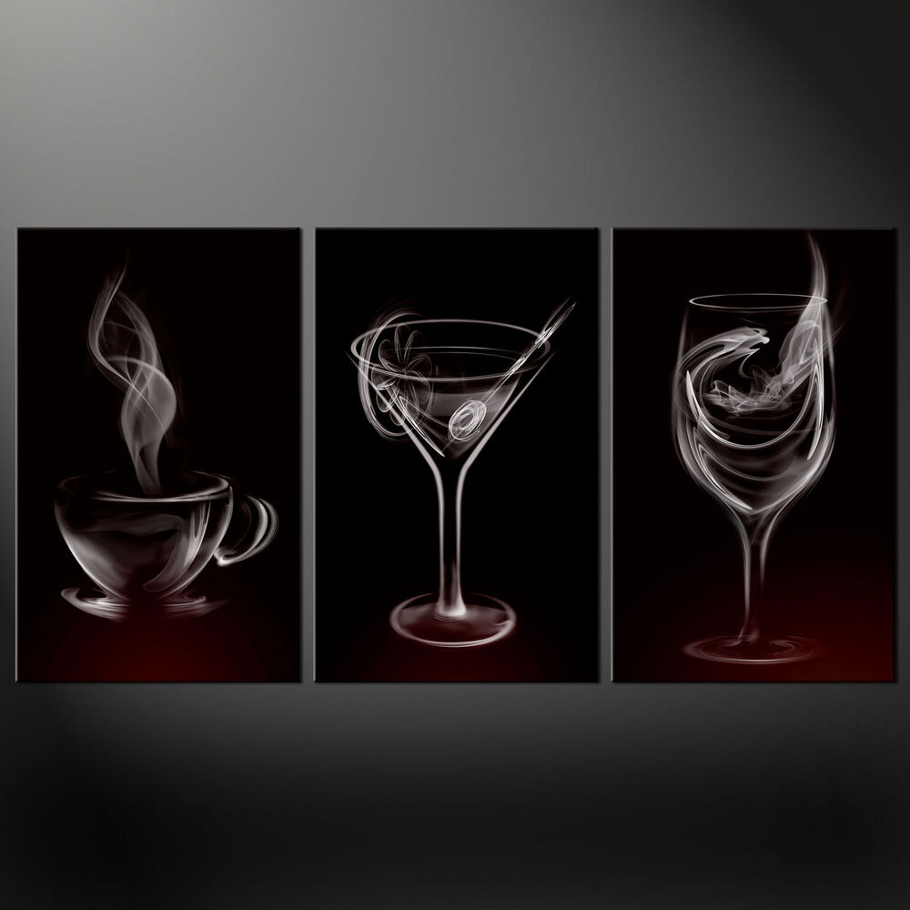 Smoke drinks glasses kitchen design canvas print picture for Kitchen wall prints