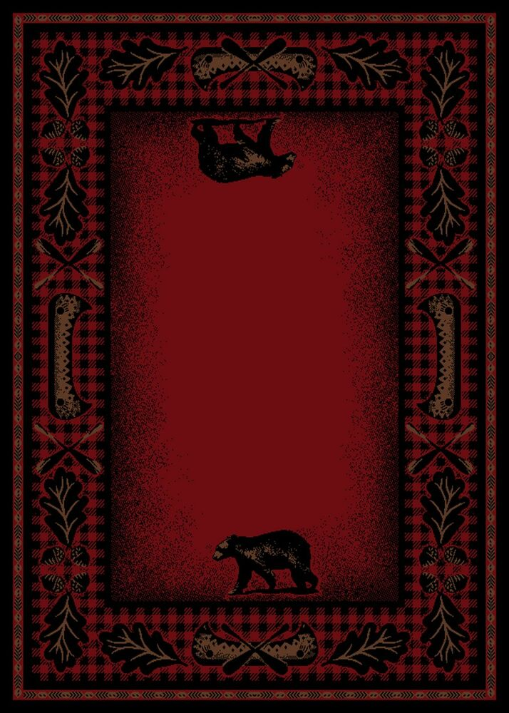 5x8 Lodge Cabin Area Rug Mountain Plaid Red Black Rustic