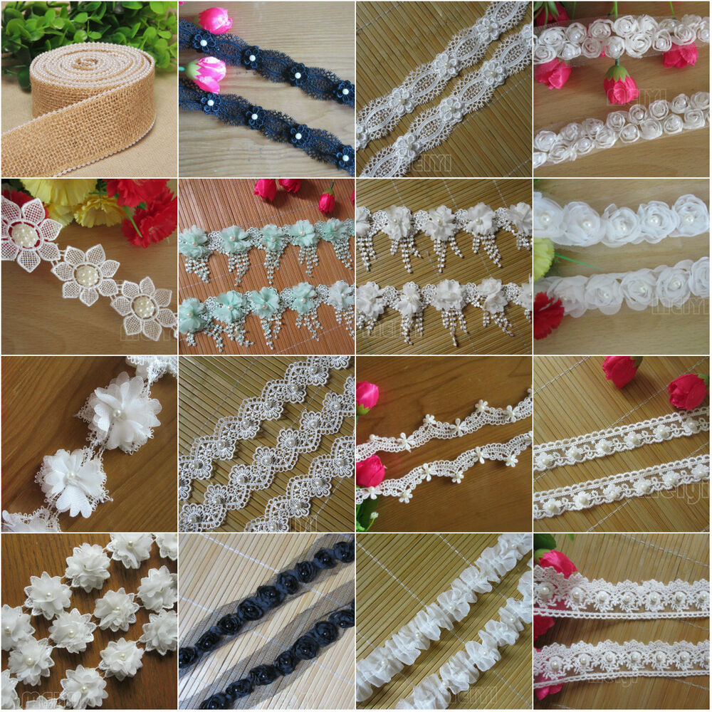 1 yard vintage pearl lace edge trim ribbon embroidered for Craft ribbons and trims